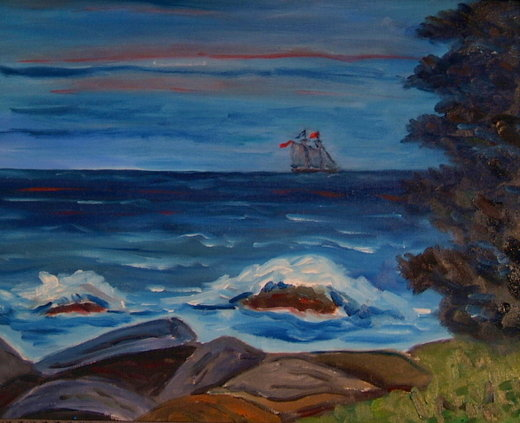 Southbound schooner at dawn